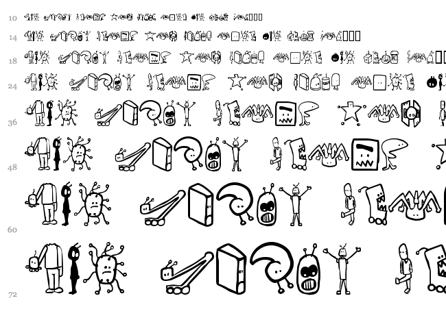 Tombots font waterfall