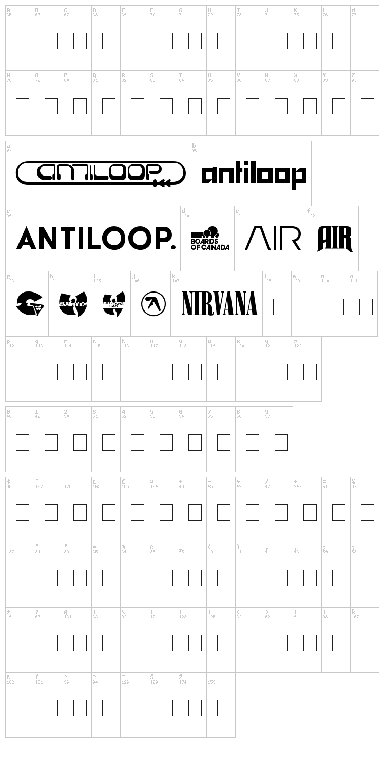 Bands & Artists font map