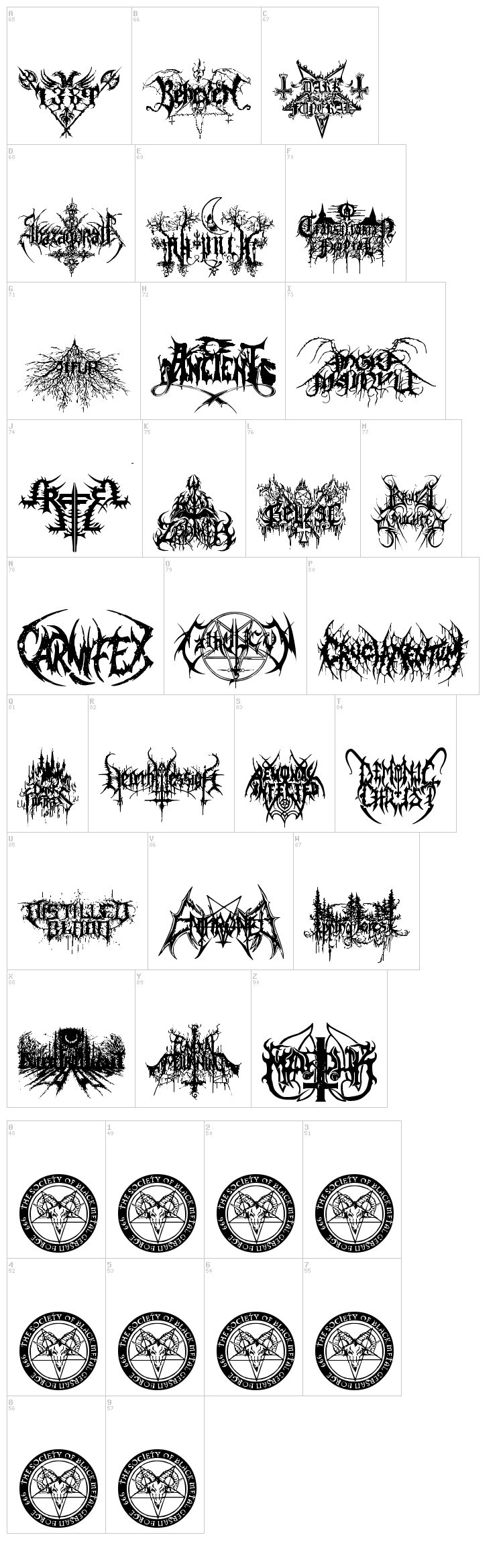 Black Metal G font map