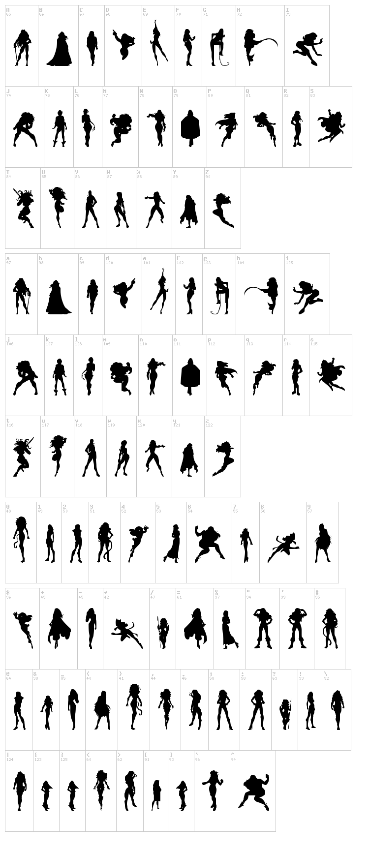Action Women font map