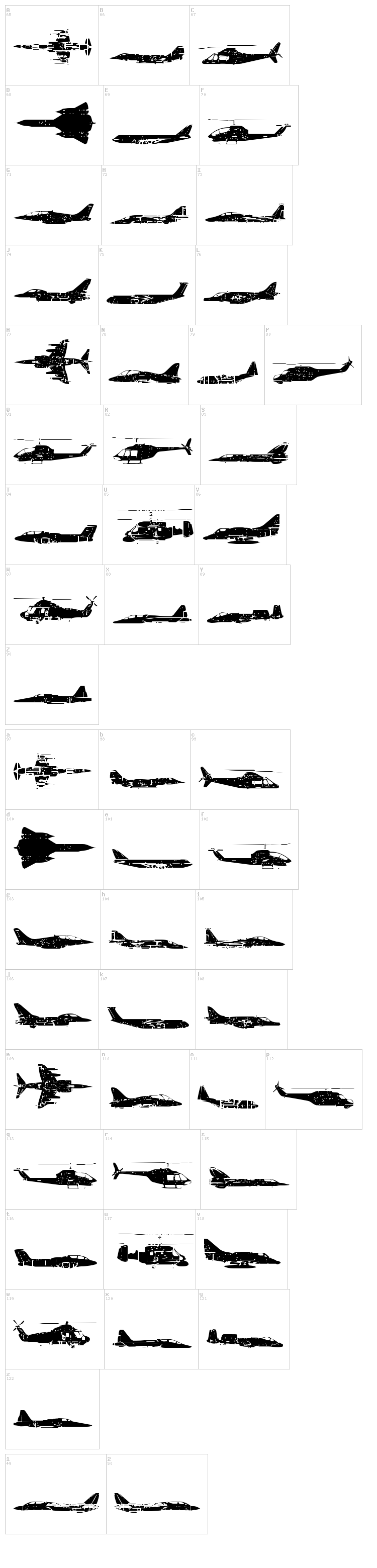 Air Force font map
