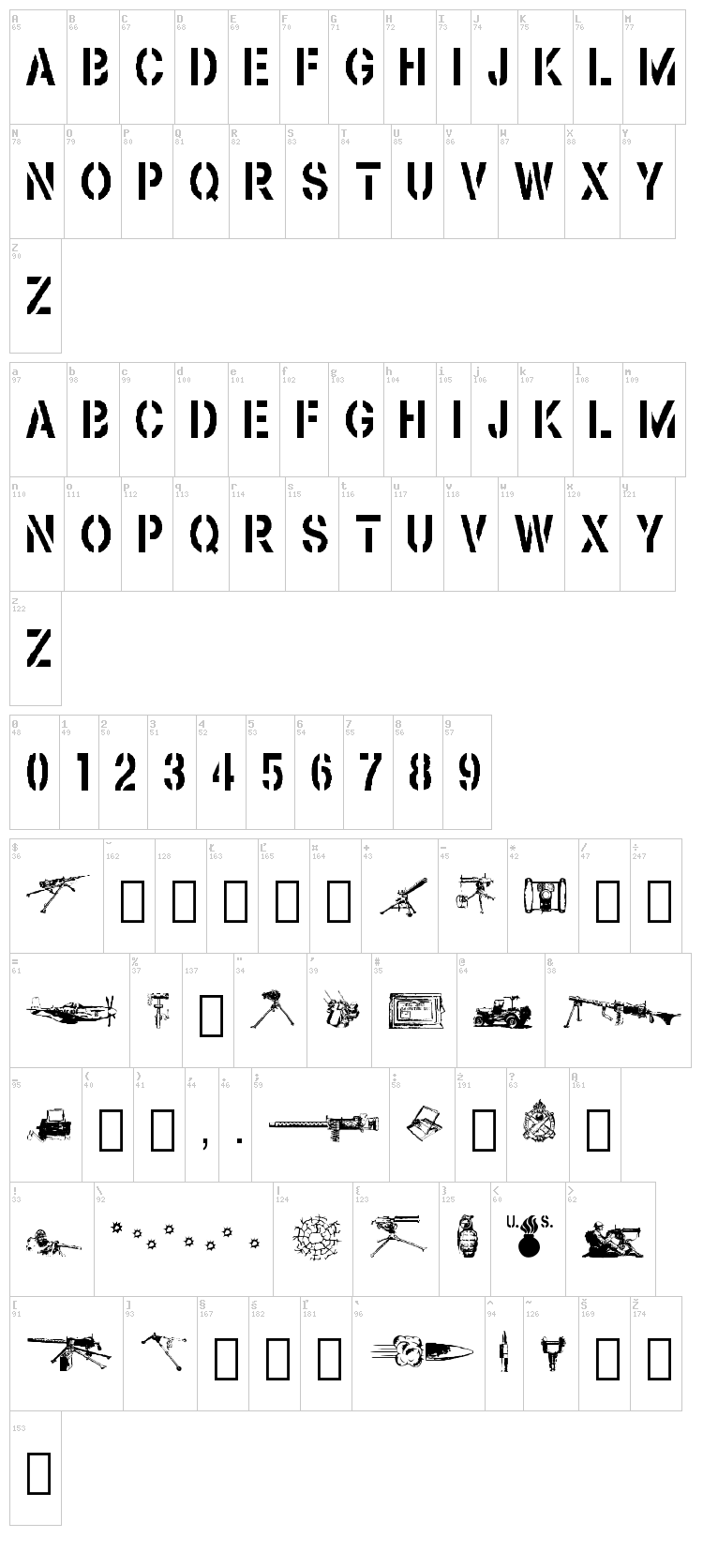 Browning font map