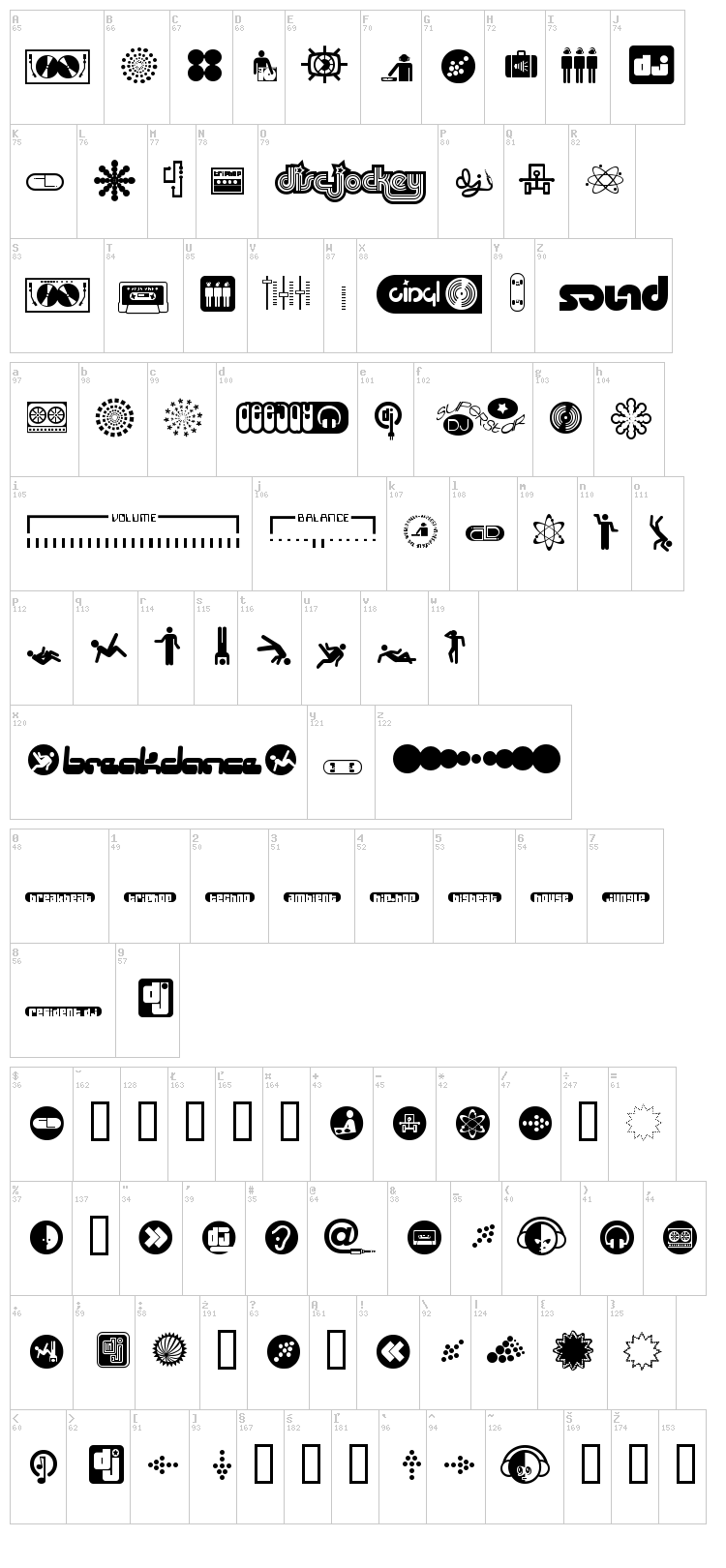 Superstar DJ font map