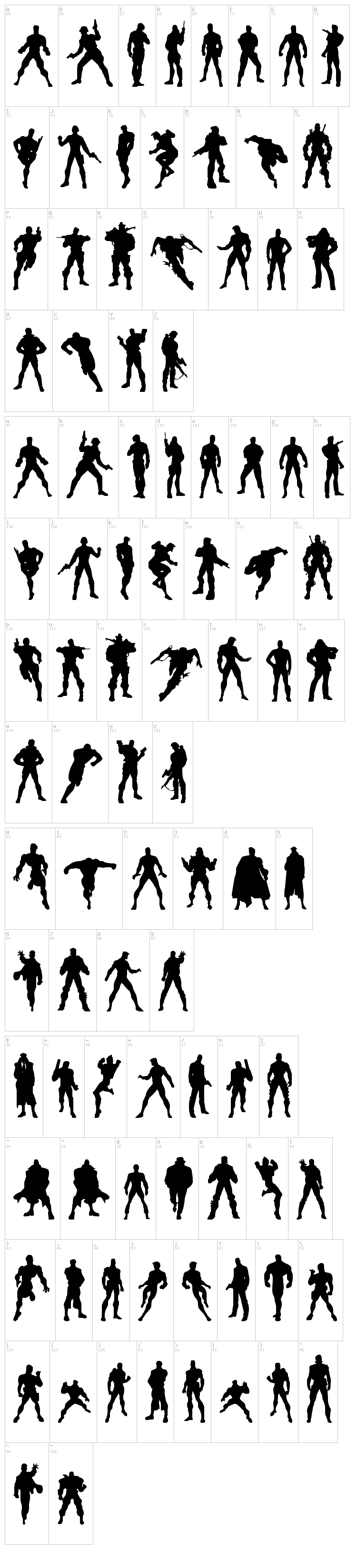 Action Men font map