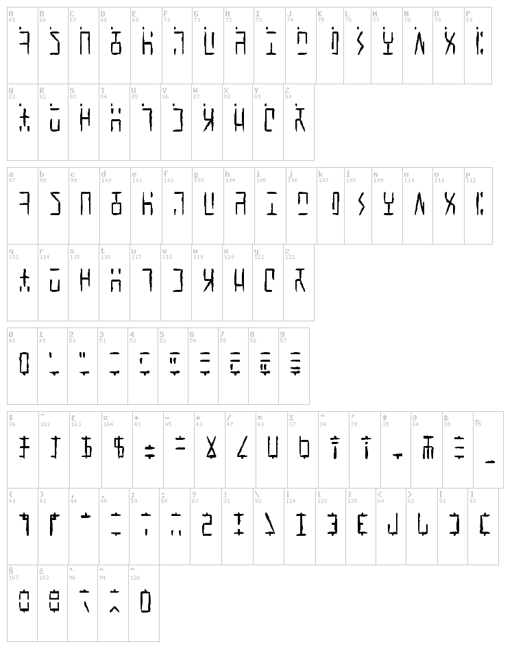 Ancient G Written font map
