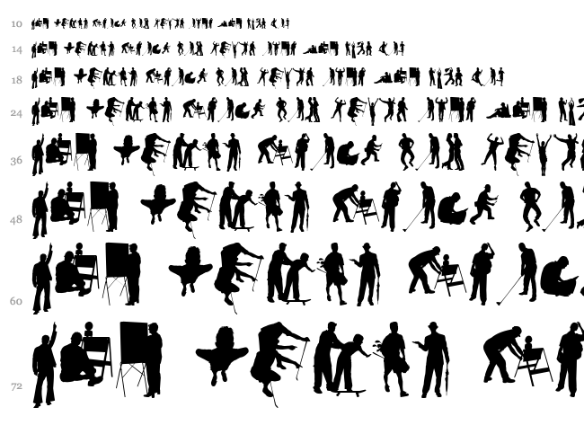 Human Silhouettes Free Seven font waterfall
