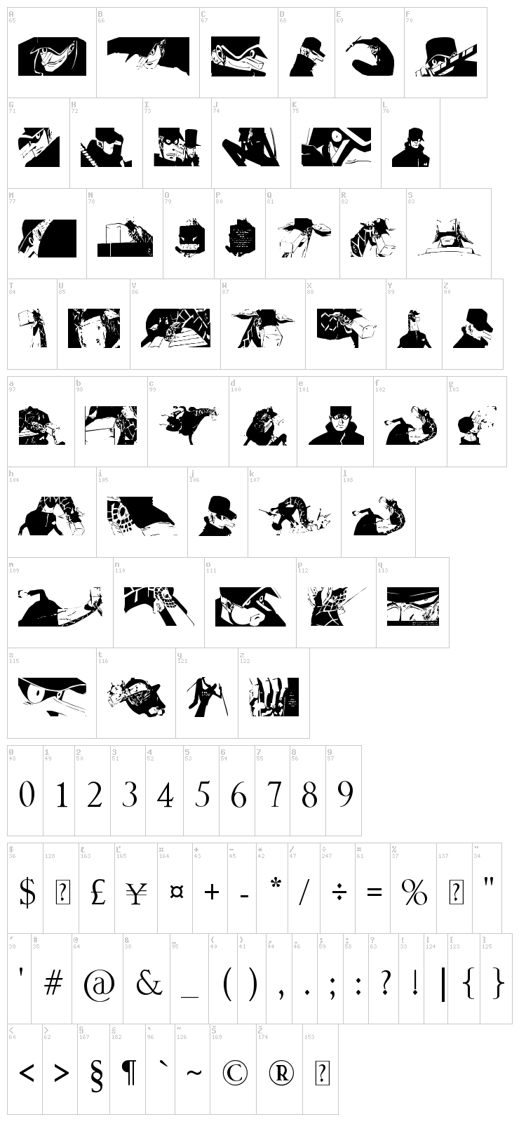 Kaku Dingbats One Piece Art One Piece Area font map
