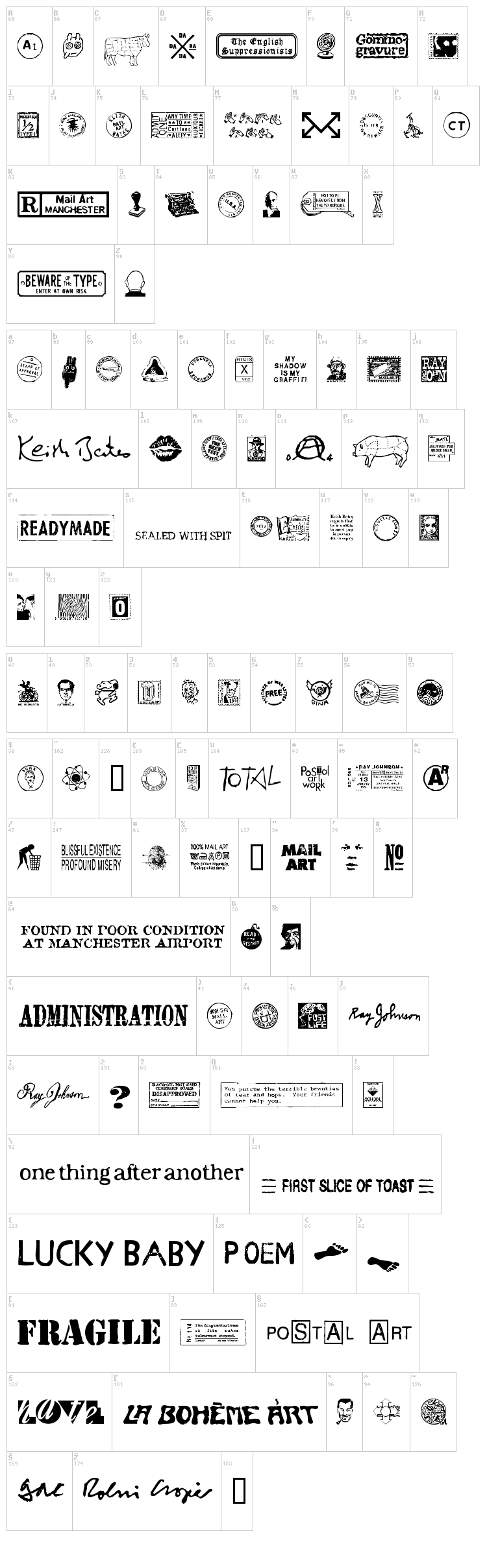 MailArt Graphics font map
