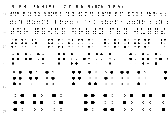 Sheets Braille font waterfall