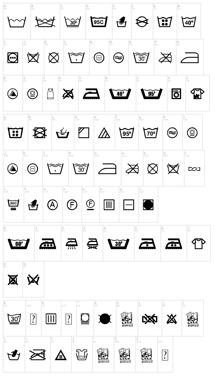 Wash Care font map