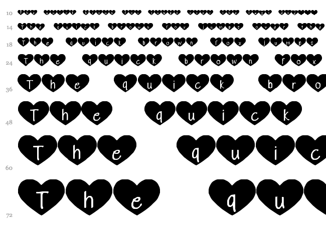 Heart Attack font waterfall