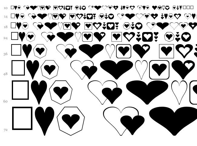 Hearts for 3D FX font waterfall