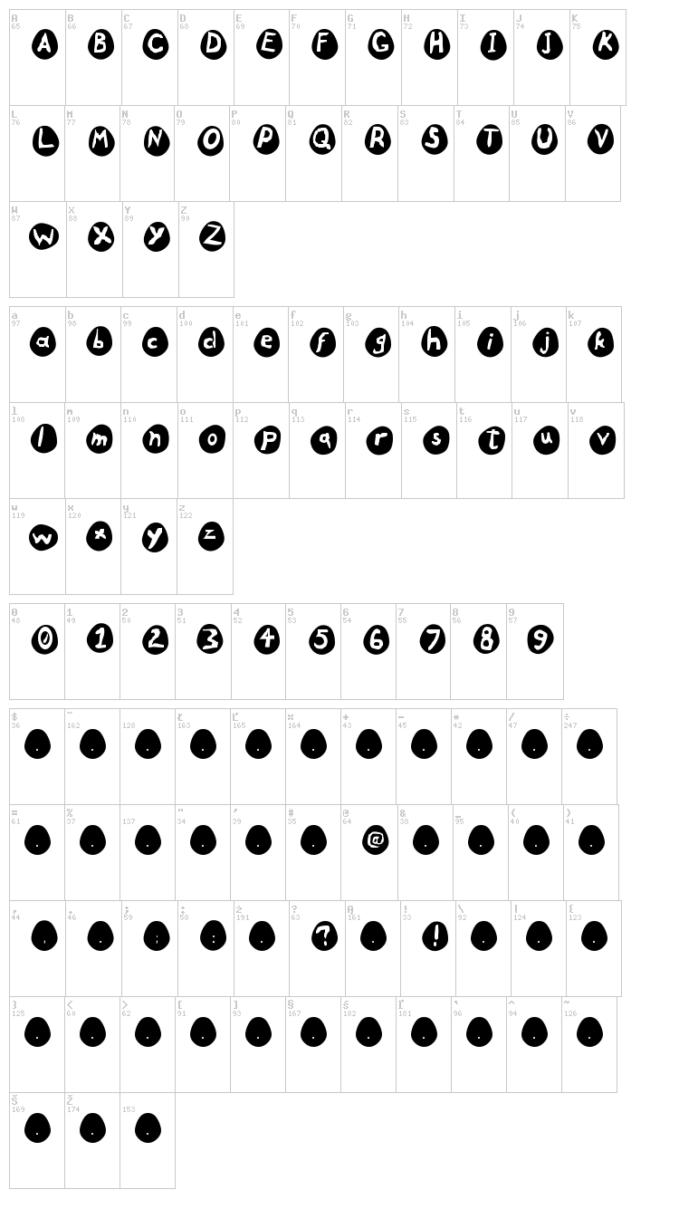 Eggs font map