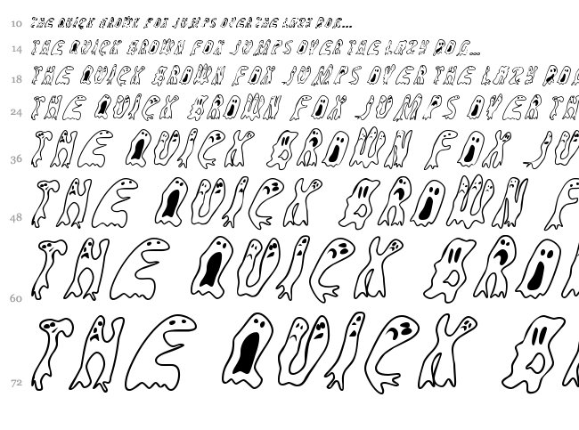 Groovy Ghosties font waterfall