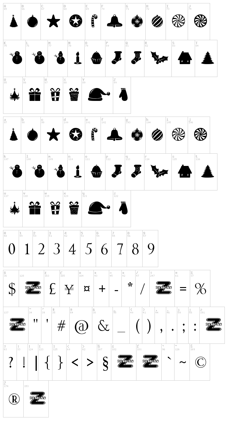 Christmas Shapes font map