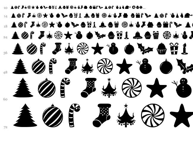 Christmas Shapes font waterfall