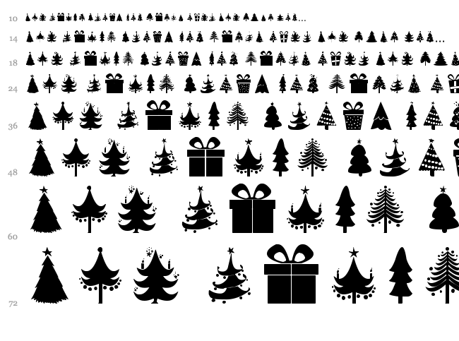 Christmas Trees font waterfall
