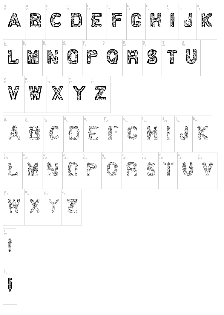 Santa Time font map